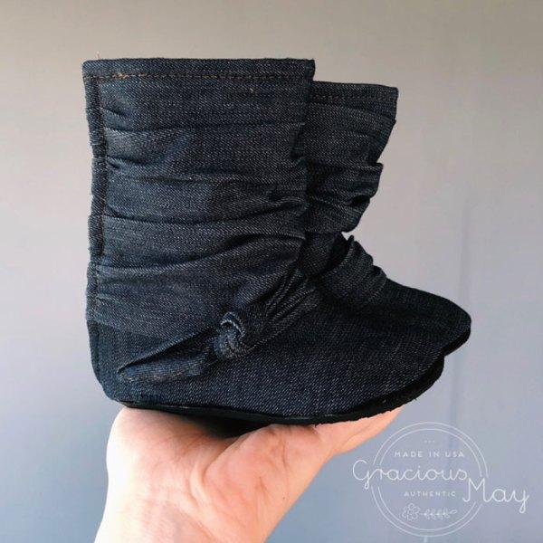 Navy Bue Denim Baby Girl Boots Fall 2019