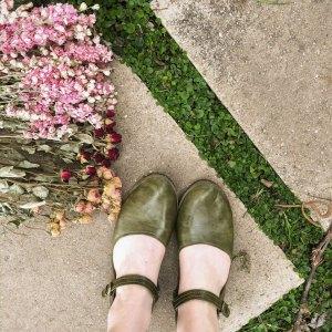 Gracious May Green Artisan Leather Flats