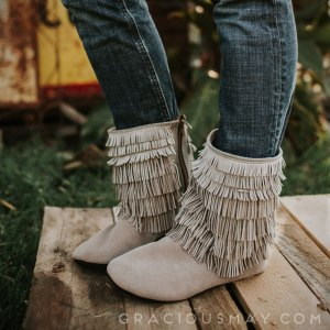 Gray Suede Moccasin Barefoot Boots Women by Gracious May