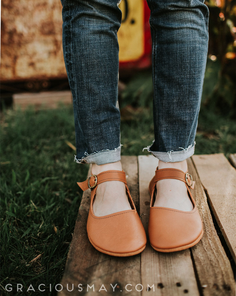Leather Barefoot Mary Janes for Women