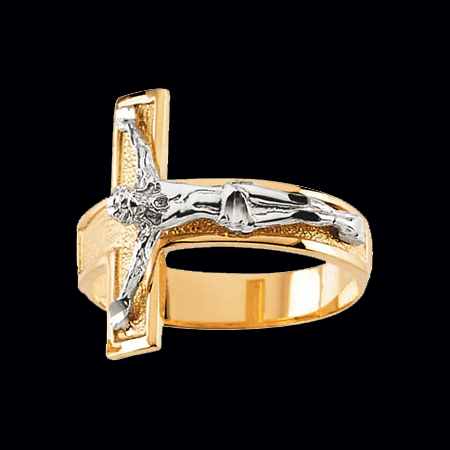 Mens Two Tone Gold Crucifix Ring