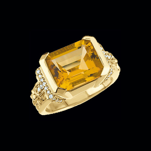 Citrine Amp Diamond Ring