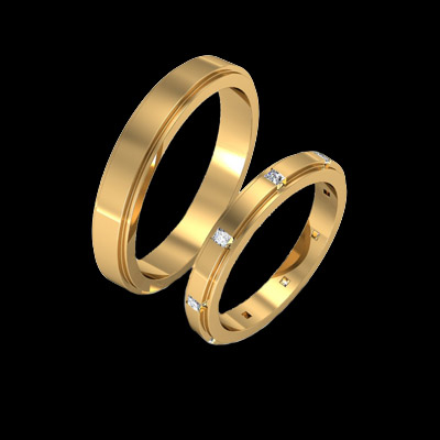 Narrow Groove Design Wedding Bands