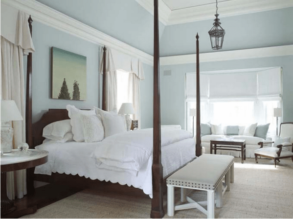 simple light blue walls master bedroom Guide to Choosing Lighting | Gracious Style Blog
