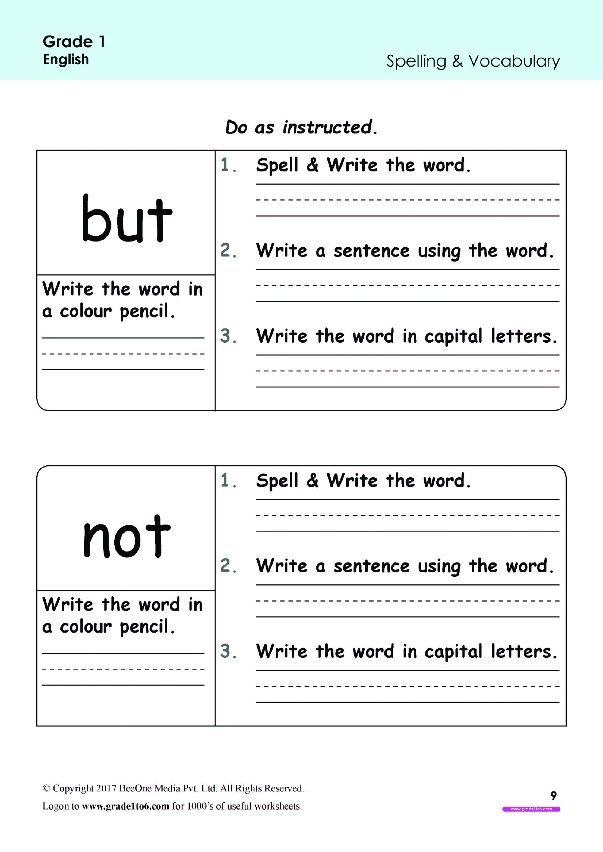 hight resolution of But Not\ Spellings Worksheets Grade 1 www.grade1to6.com