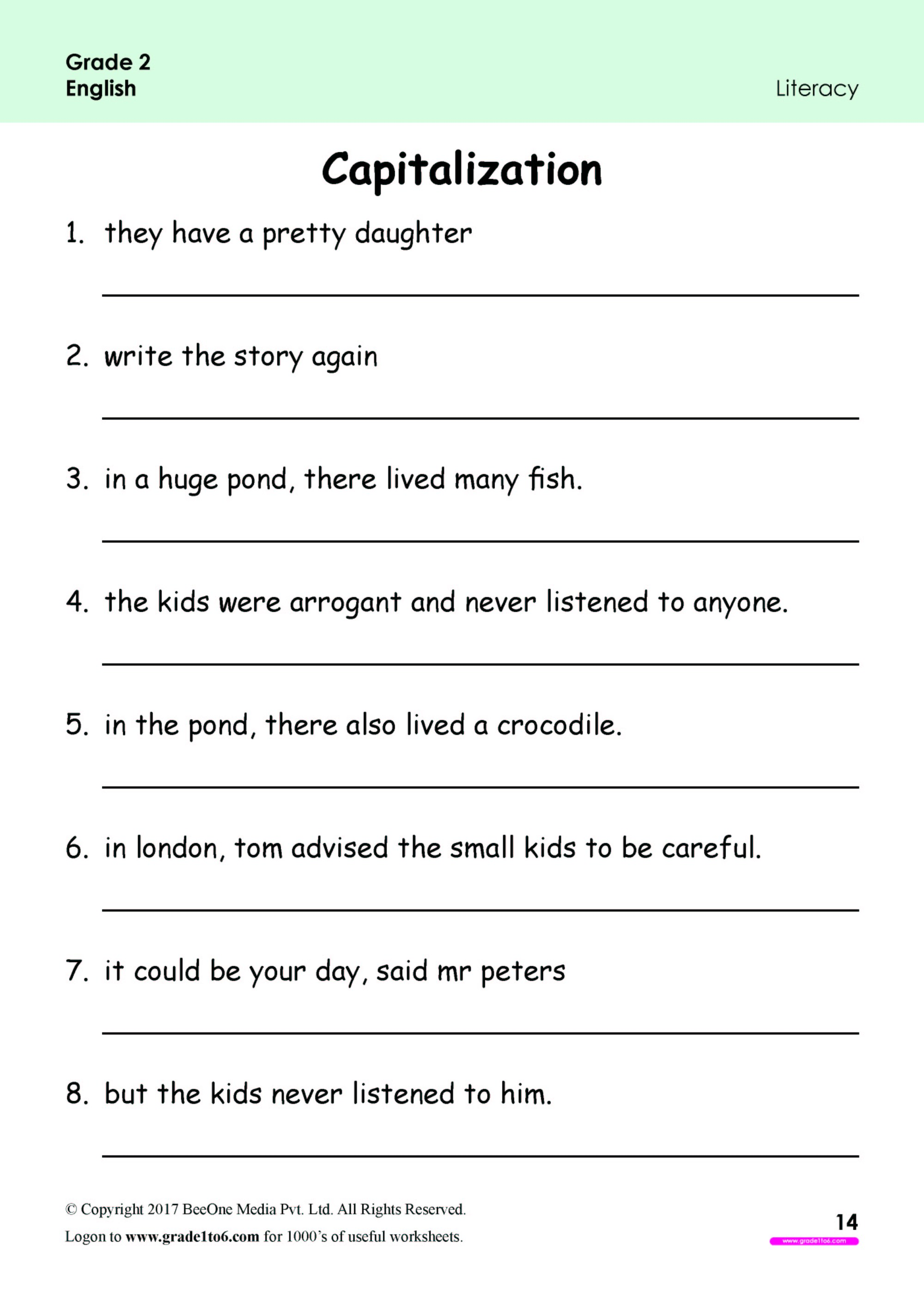 hight resolution of Capitalization Worksheets for Grade 2 www.grade1to6.com
