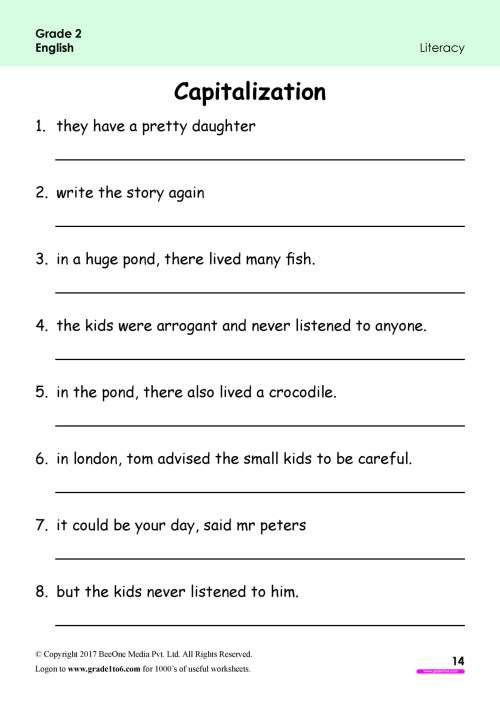 small resolution of Capitalization Worksheets for Grade 2 www.grade1to6.com