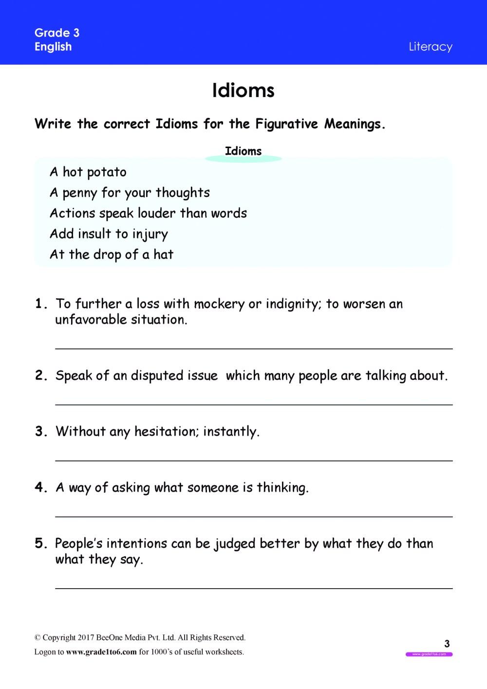 medium resolution of Idioms Worksheet Grade 3 www.grade1to6.com