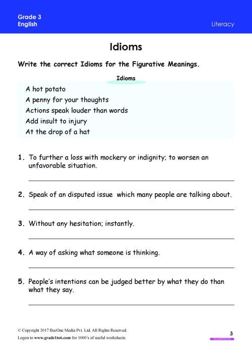 small resolution of Idioms Worksheet Grade 3 www.grade1to6.com