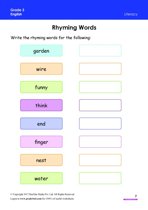 small resolution of Rhyming Words Worksheets Grade 3 www.grade1to6.com