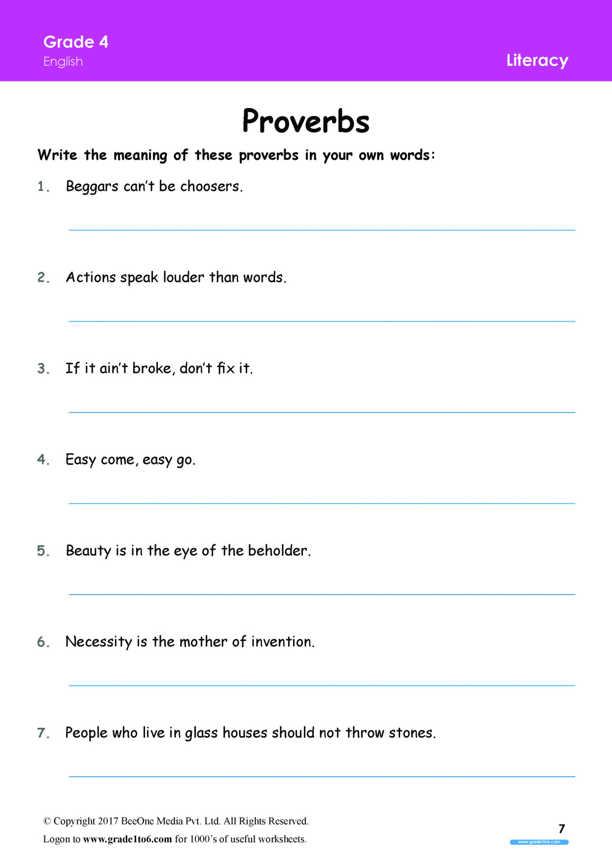 hight resolution of Proverbs worksheets Grade 4 www.grade1to6.com