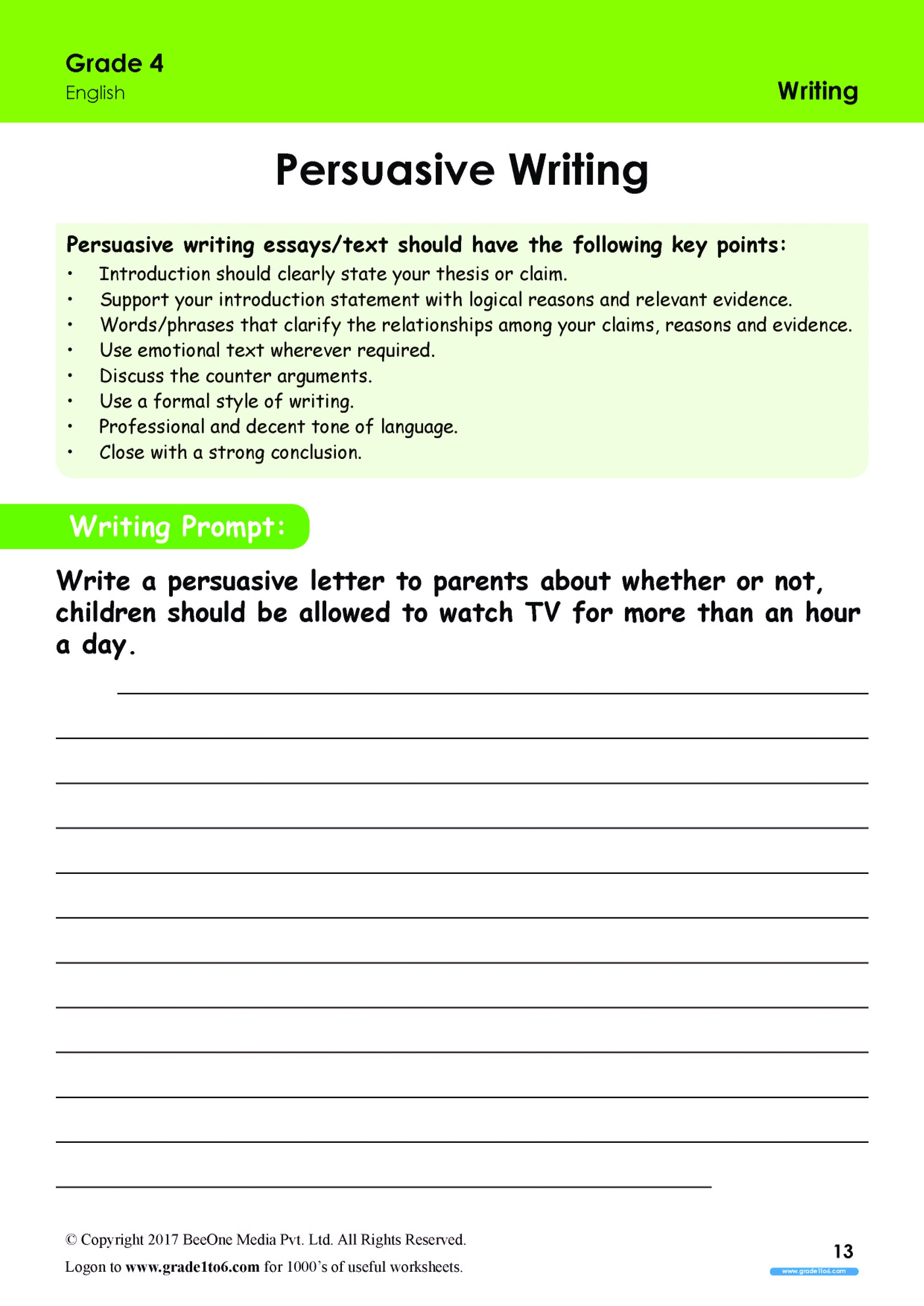 hight resolution of Persuasive Writing worksheets Grade 4 www.grade1to6.com