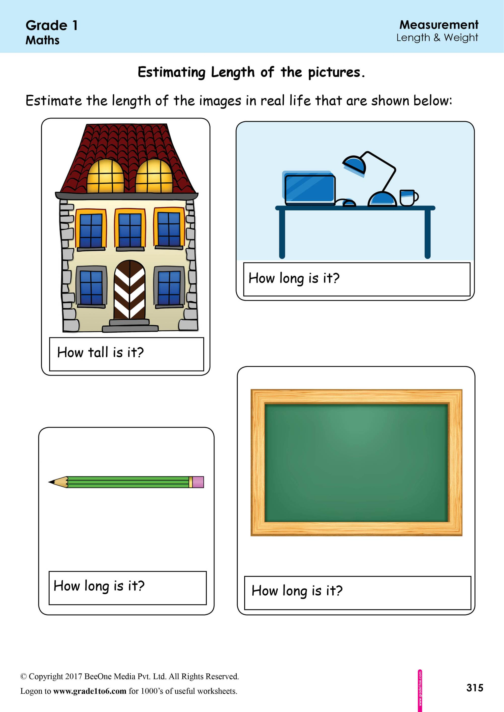 hight resolution of 1st Grade Measurement Worksheets Estimating Length