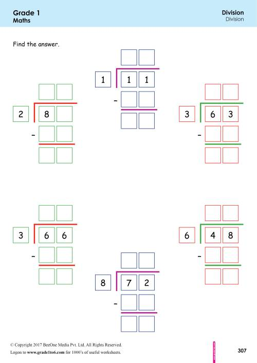 small resolution of 1st Grade Division Worksheets grade1to6.com
