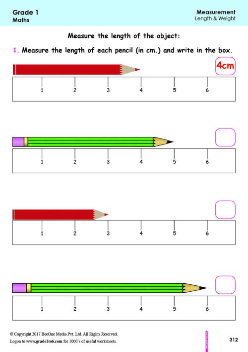 small resolution of 1st Grade Measurement Worksheets grade1to6.com