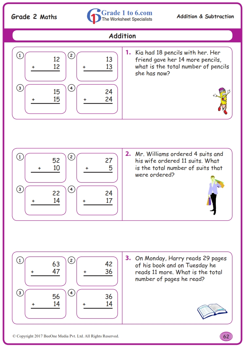 medium resolution of Grade 2 Addition Word Problems Worksheets  www.grade1to6.com