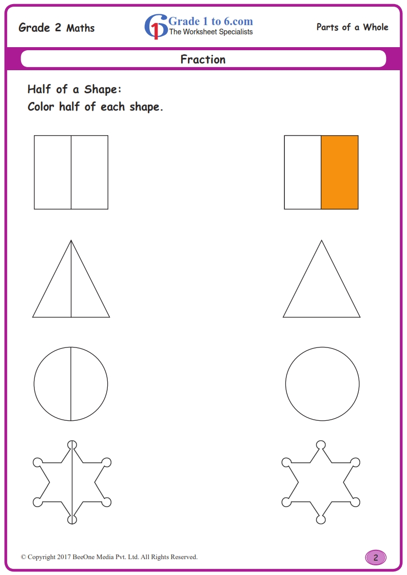hight resolution of 2nd Grade Fractions Worksheets  www.grade1to6.com