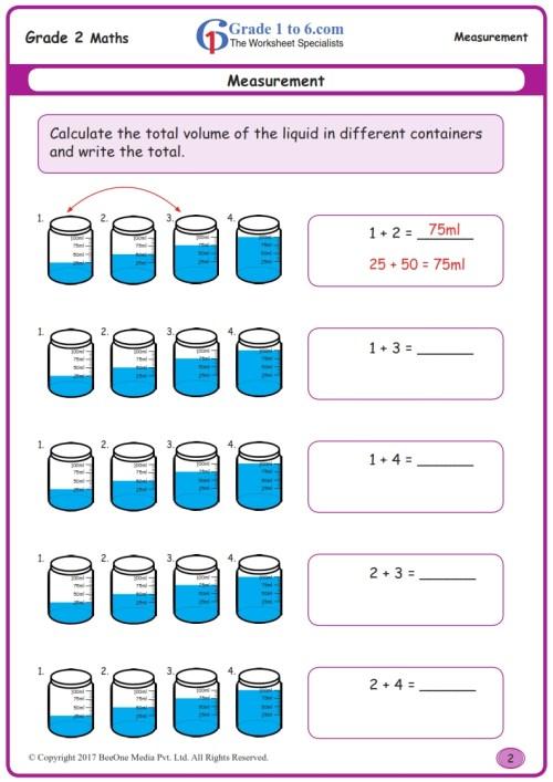small resolution of Measuring Liquid Volume Worksheets www.grade1to6.com