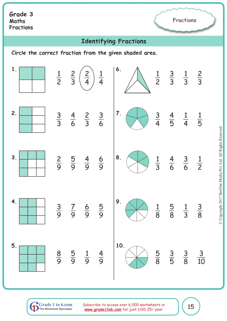 hight resolution of Grade 3 Identifying Fractions Worksheets www.grade1to6.com