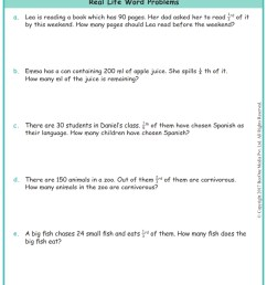 Grade 3 Fractions Word Problems Worksheets www.grade1to6.com [ 1122 x 793 Pixel ]