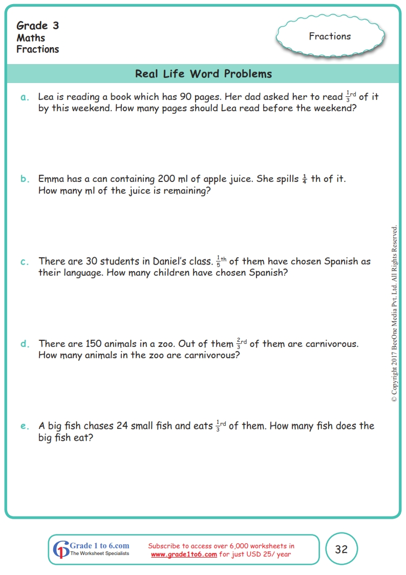 medium resolution of Grade 3 Fractions Word Problems Worksheets www.grade1to6.com