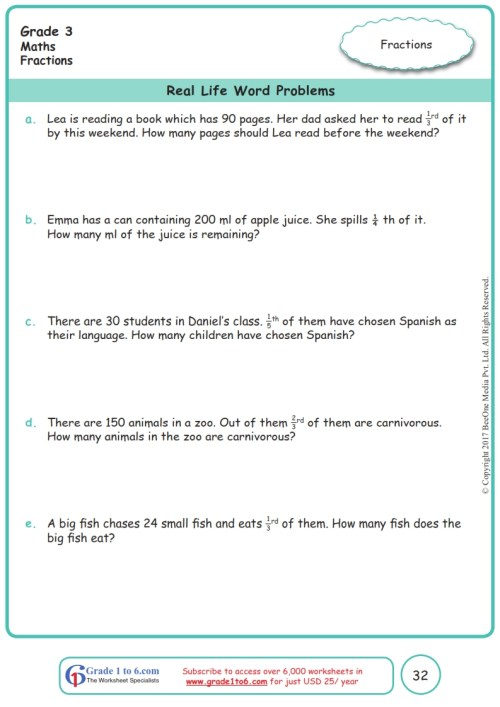 small resolution of Grade 3 Fractions Word Problems Worksheets www.grade1to6.com