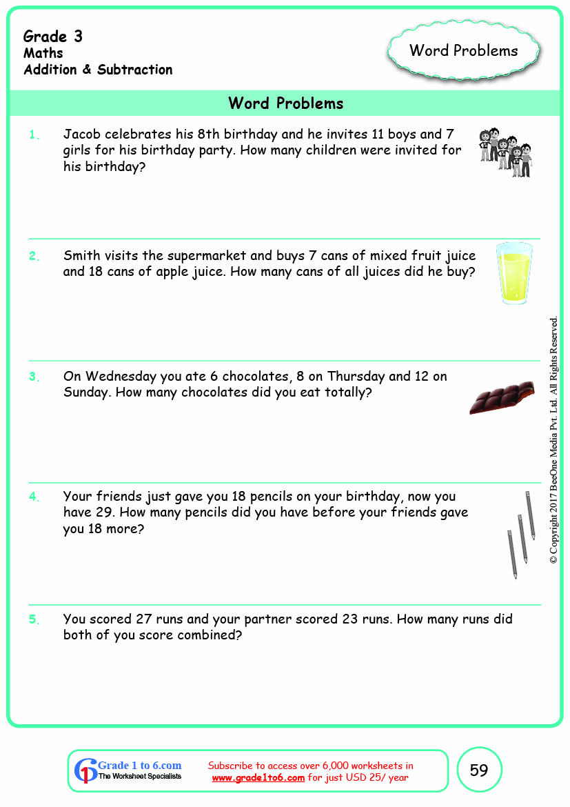 hight resolution of Grade 3 Addition Multi-Step Word Problems Worksheets www.grade1to6.com