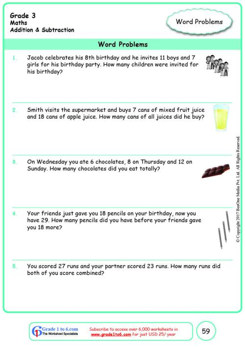 small resolution of Grade 3 Addition Multi-Step Word Problems Worksheets www.grade1to6.com