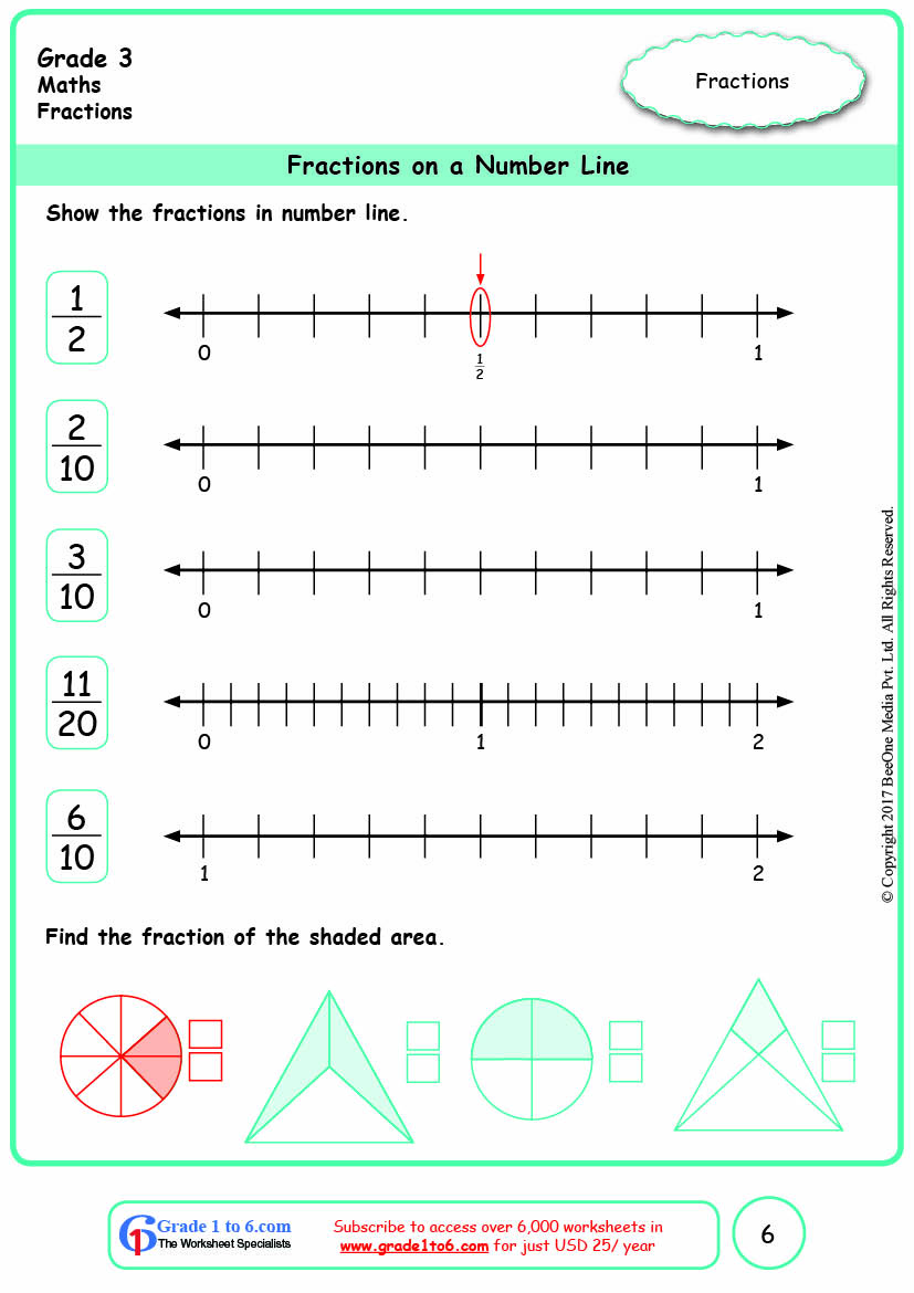 hight resolution of Grade 3 Fractions on a Number Line Worksheets www.grade1to6.com