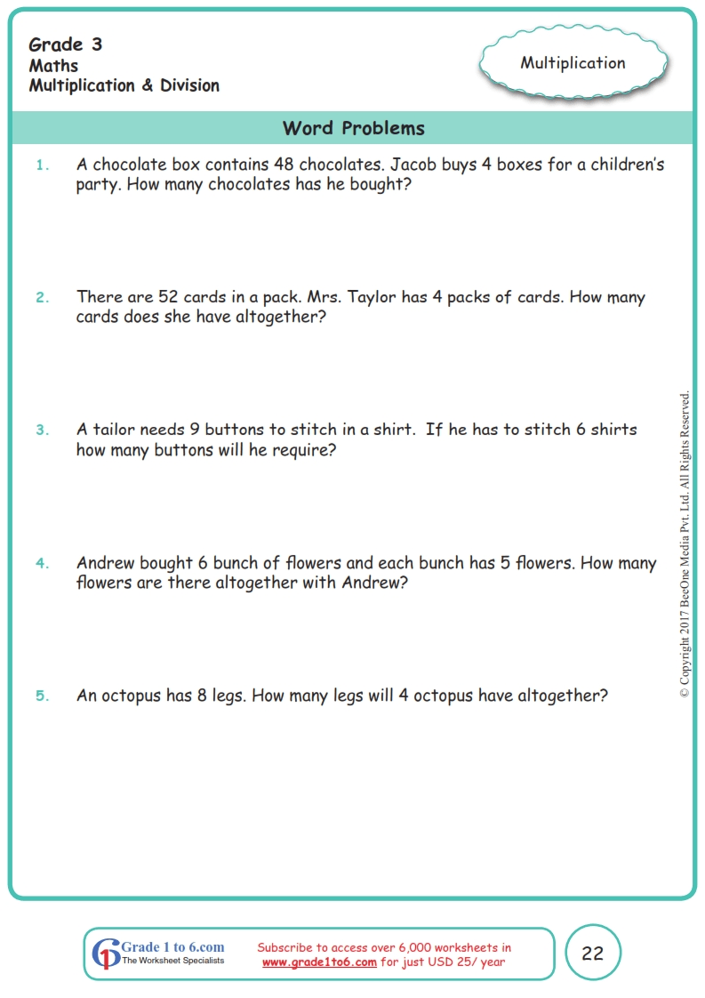 medium resolution of Grade 3 Word Problems Worksheets www.grade1to6.com