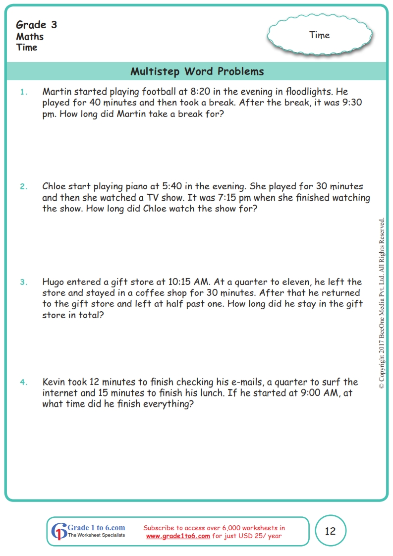 medium resolution of Time Word Problems Grade 3 Worksheets www.grade1to6.com
