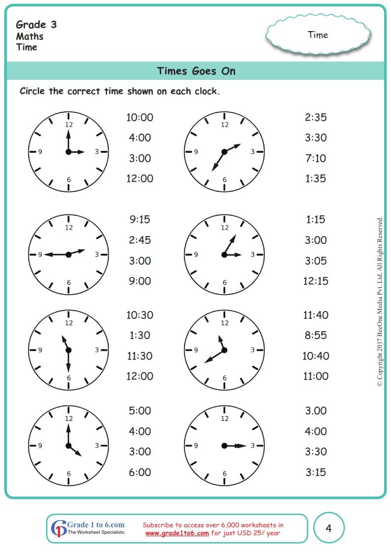 medium resolution of Time Worksheets Grade 3 www.grade1to6.com