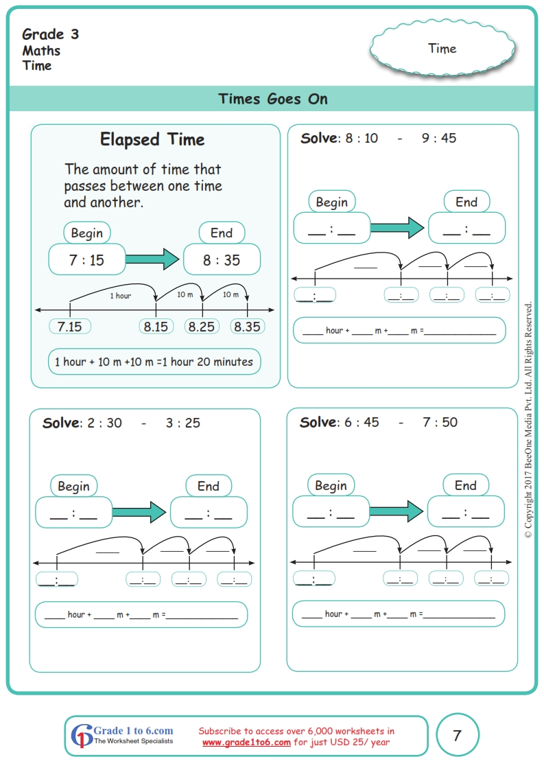 hight resolution of Elapsed Time Worksheets www.grade1to6.com