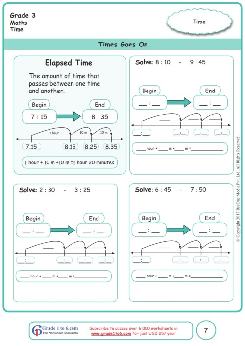 small resolution of Elapsed Time Worksheets www.grade1to6.com
