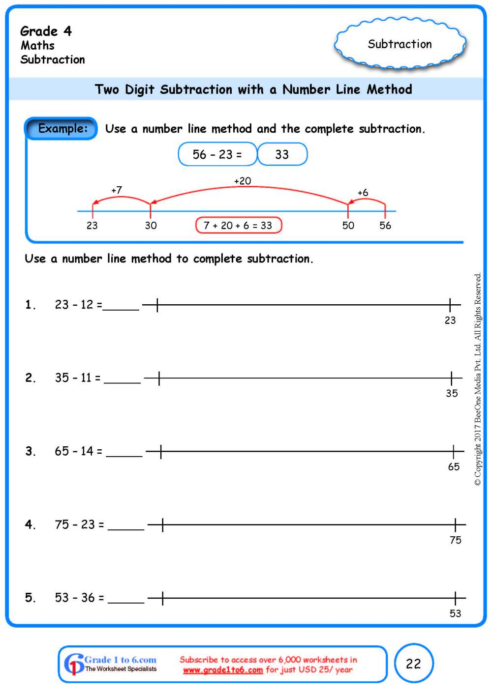 medium resolution of Number Line Subtraction Worksheets www.grade1to6.com