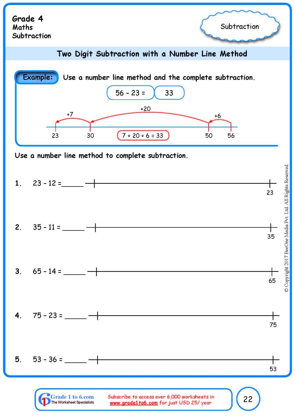 medium resolution of Number Line Subtraction Worksheets www.grade1to6.com