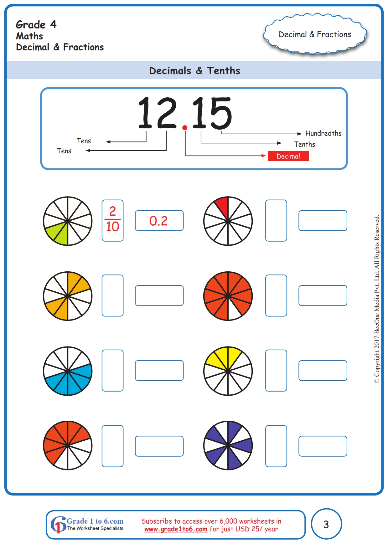 hight resolution of Grade 4 Decimals Worksheets www.grade1to6.com