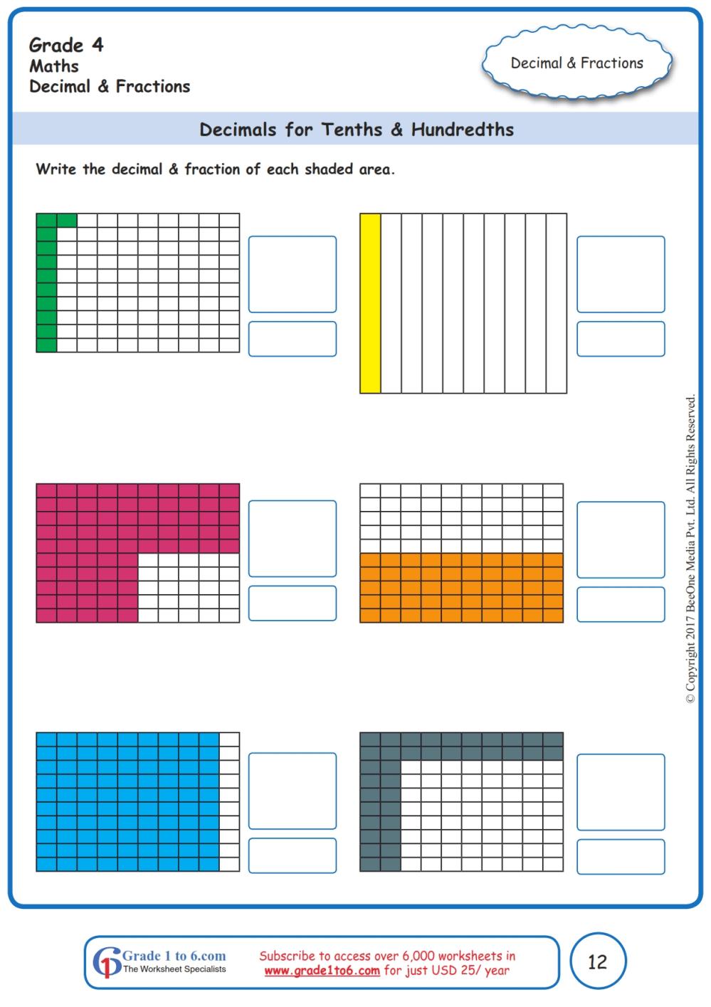 medium resolution of Grade 4 Decimals \u0026 Tenths Worksheets www.grade1to6.com