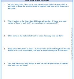 Division Word Problems Worksheets www.grade1to6.com [ 1754 x 1239 Pixel ]