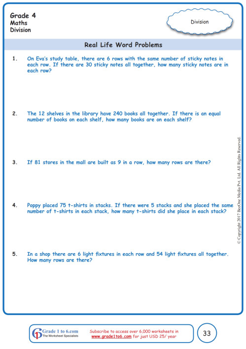 small resolution of Division Word Problems Worksheets www.grade1to6.com