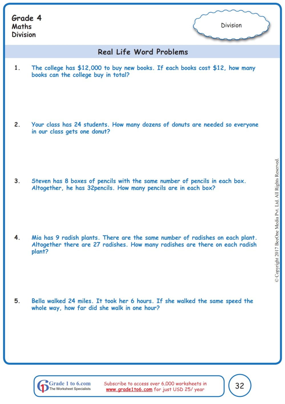 medium resolution of Grade 4 Division Word Problems Worksheets www.grade1to6.com