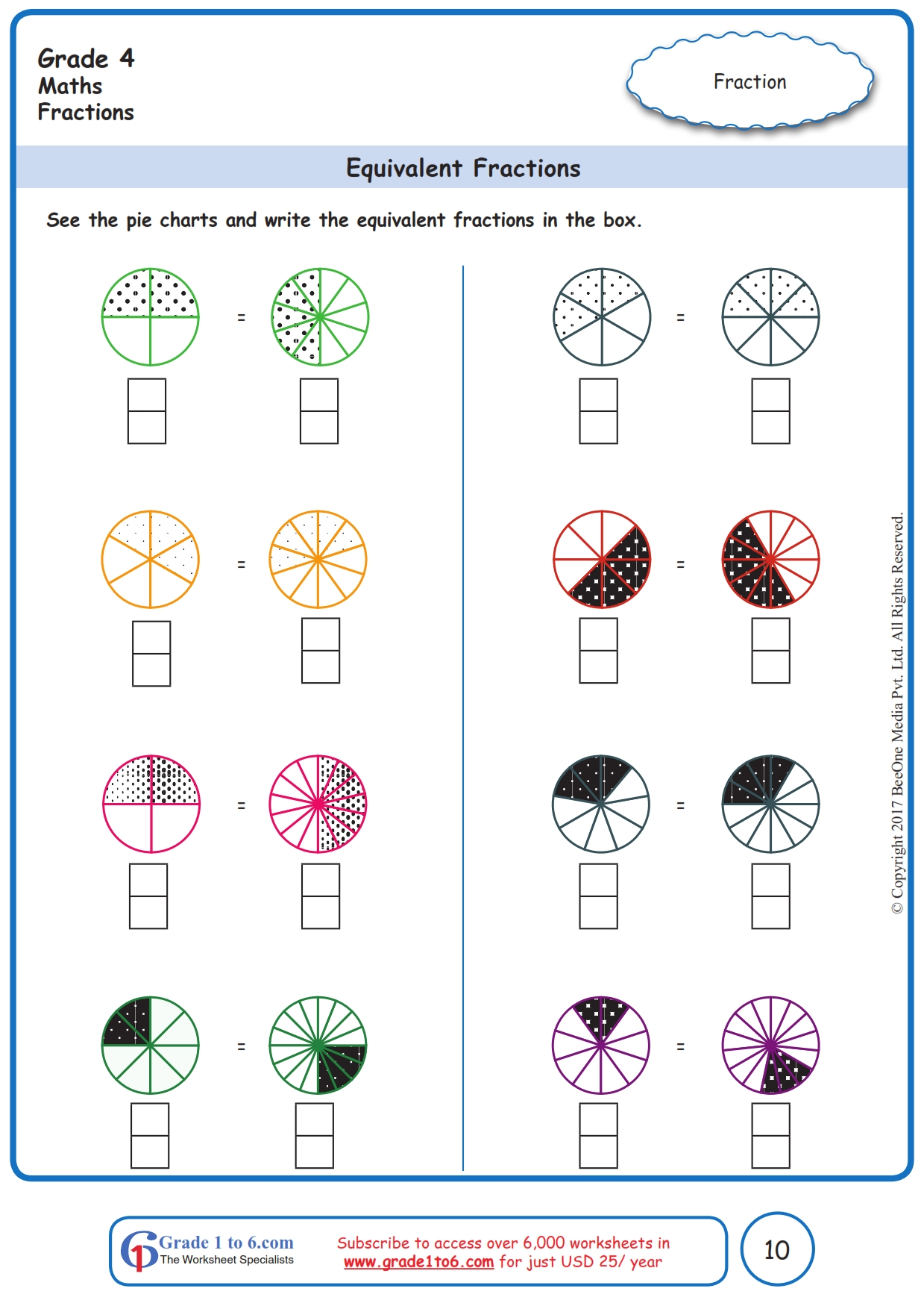 hight resolution of Equivalent Fractions Worksheets: Grade 4  www.grade1to6.com