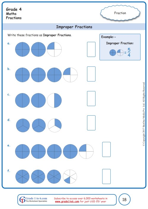 small resolution of Grade 4 Improper Fractions Worksheets www.grade1to6.com
