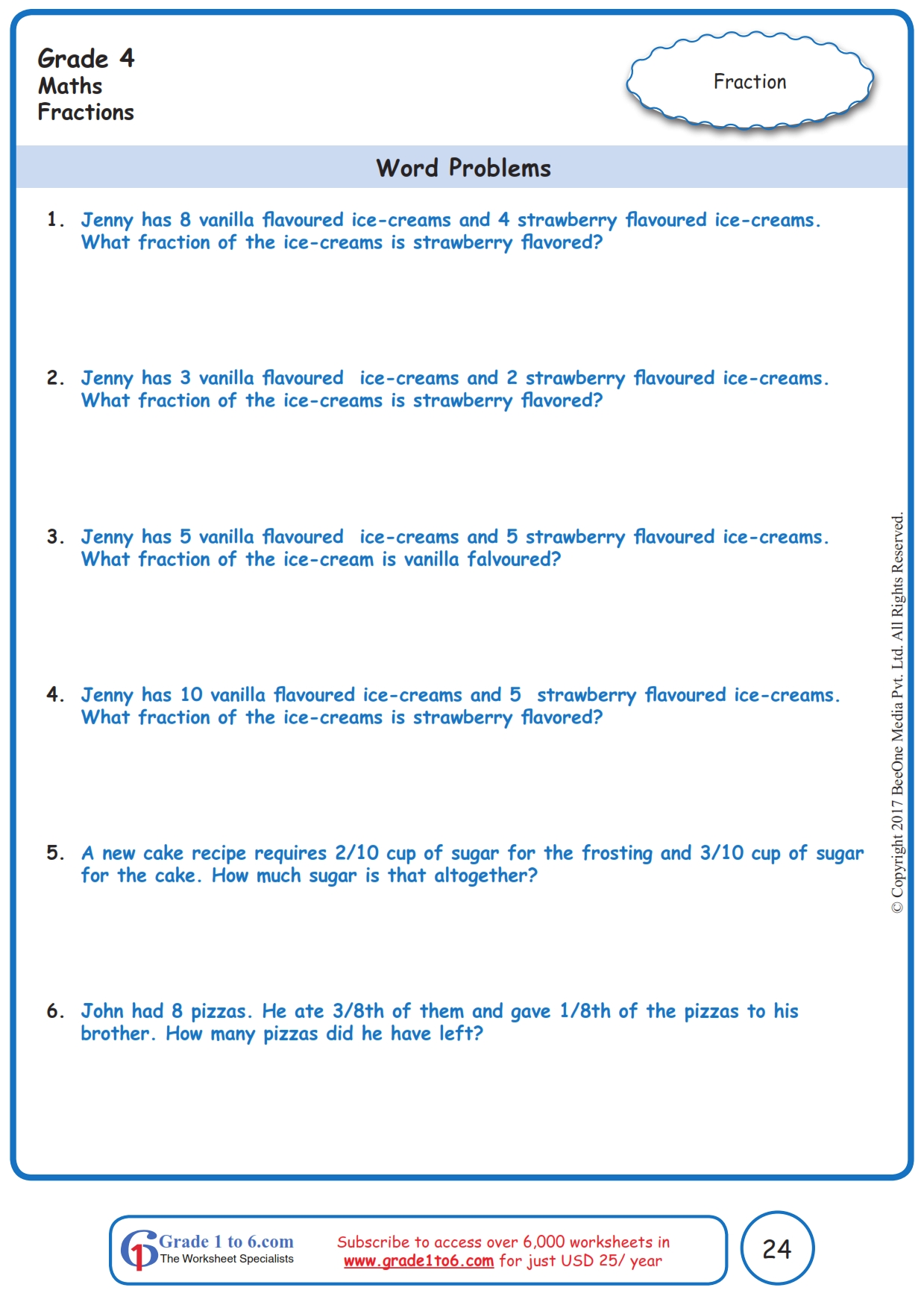 hight resolution of Fractions Word Problems Worksheets www.grade1to6.com