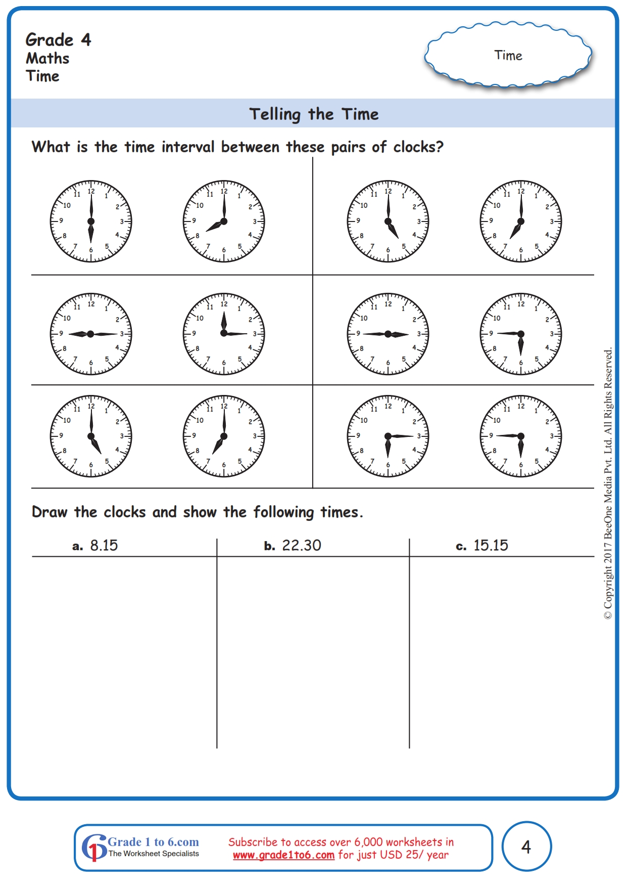 hight resolution of Time Interval Worksheets www.grade1to6.com