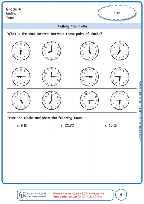 small resolution of Time Interval Worksheets www.grade1to6.com