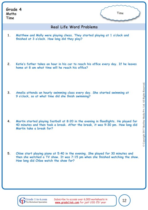 small resolution of Telling Time Word Problem Worksheets   Printable Worksheets and Activities  for Teachers