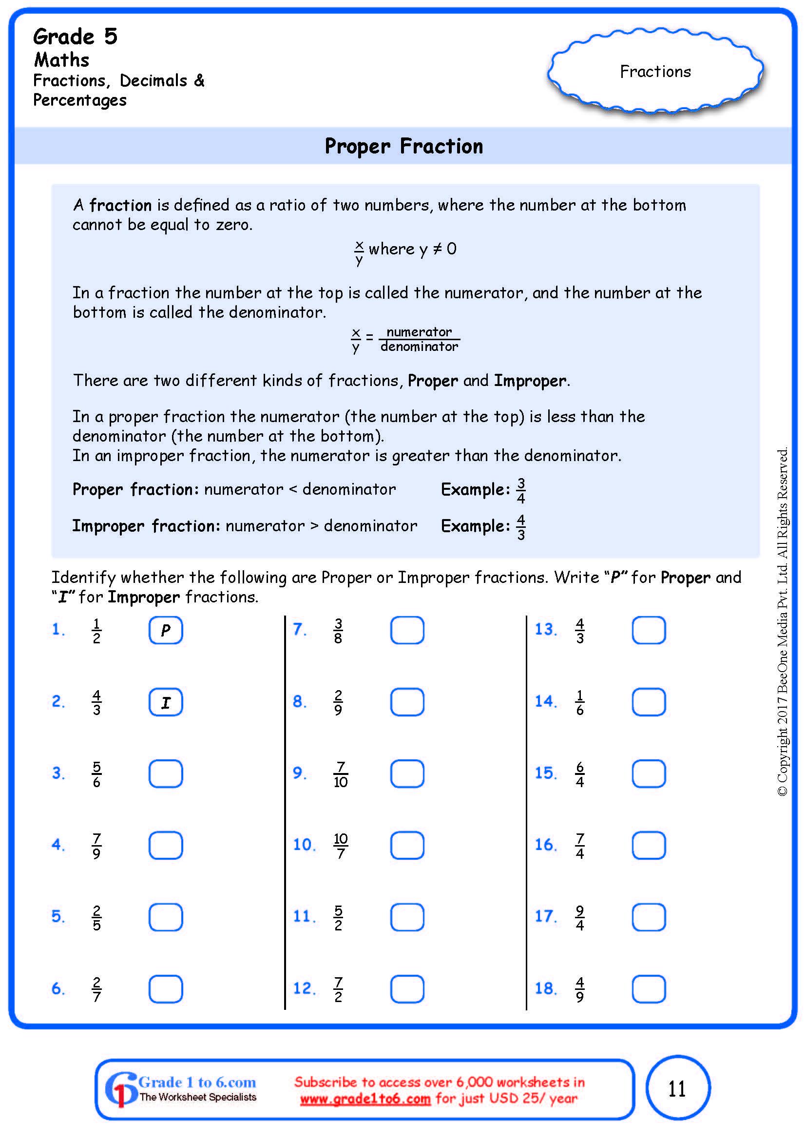 hight resolution of Grade 5 Proper to Improper Fraction Worksheets www.grade1to6.com