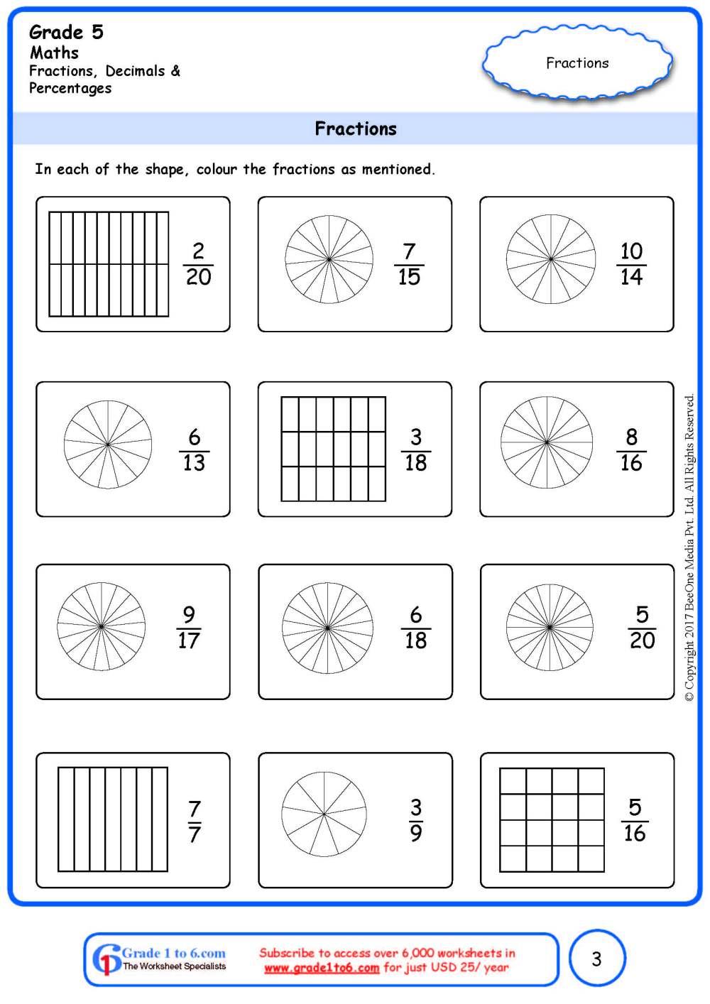 medium resolution of Grade 5 Fractions Identification Worksheets www.grade1to6.com
