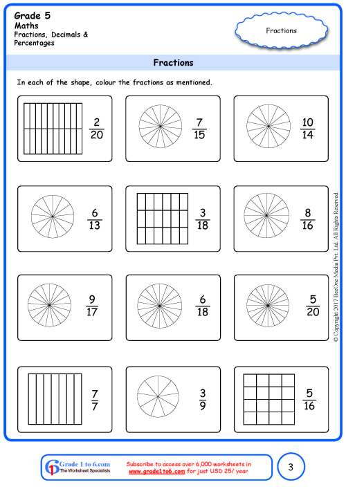 small resolution of Grade 5 Fractions Identification Worksheets www.grade1to6.com